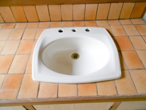 Brown Sink after Repairing and reglazing in Los Angeles County