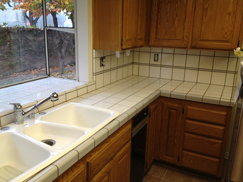 Tiled Kitchen Countertop Refinishing Before